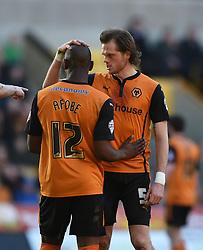 Wolves' Benik Afobe and Richard Stearman - Photo mandatory by-line: Paul Knight/JMP - Mobile: 07966 386802 - 07/03/2015 - SPORT - Football - Wolverhampton - Molineux Stadium - Wolverhampton Wanderers v Watford - Sky Bet Championship