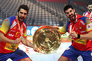 David Balaguer, Eduardo Gurbindo (Spain) celebrate the Gold Medal during the EHF 2018 Men's European Championship, Final Handball match between Spain and Sweden on January 28, 2018 at the Arena in Zagreb, Croatia - Photo Laurent Lairys / ProSportsImages / DPPI