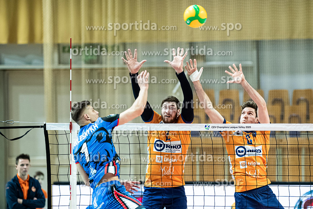 Vucicevic Bozidar of ACH Volley and Puric Diko of ACH Volley during volleyball match between ACH Volley Ljubljana (SLO) and Kuzbas Kemerevo (RUS) n 2nd Round, group B of 2019 CEV Volleyball Champions League, on December 11, 2019 in Hala Tivoli, Ljubljana, Slovenia. Grega Valancic / Sportida