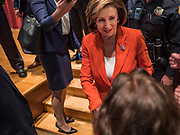 26 OCTOBER 2019 - DES MOINES, IOWA: Congresswoman NANCY PELOSI (D-CA), Speaker of the House of Representatives, meets Iowa Democrats after speaking at Drake University. Speaker Pelosi talked about her experiences as Speaker of the House after the Democrats took back the House of Representatives in the 2018 midterm elections.        PHOTO BY JACK KURTZ