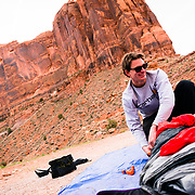 Packing a parachute in MOAB Utah.