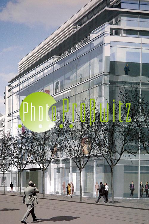 Mannheim. Plan der Architekten Richard Meier &amp; Partners. Peek&amp;Cloppenburg<br /> <br /> Bild: Pro&szlig;witz