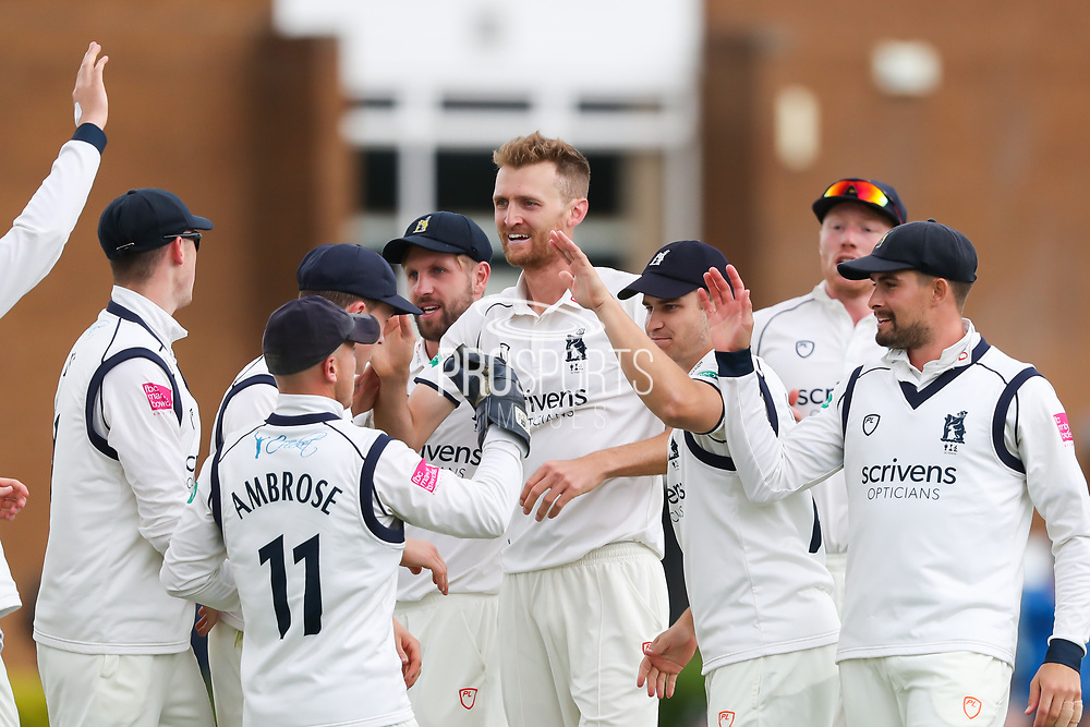 Oliver Hannon-Dalby of Warwickshire celebrates taking the wicket of Adam Lyth of Yorkshire during the Specsavers County Champ Div 1 match between Yorkshire County Cricket Club and Warwickshire County Cricket Club at York Cricket Club, York, United Kingdom on 17 June 2019.