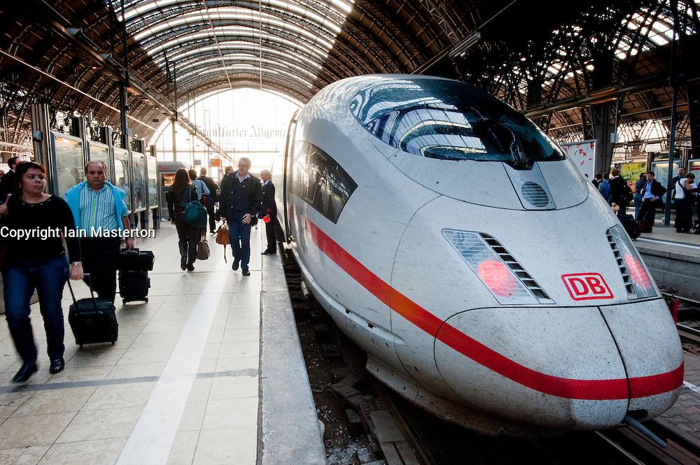 German ICE high speed train at plaform in Frankfurt railway station