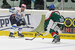 02.11.2014, Curt-Frenzel-Stadion, Augsburg, GER, DEL, Augsburger Panther vs Schwenninger Wild Wings, 16. Runde, im Bild l-r: im Zweikampf, Aktion, mit Dan Hacker #20 (Schwenninger Wild Wings) und Brady Lamb #2 (Augsburger Panther) // during Germans DEL Icehockey League 16th round match between Augsburger Panther and Schwenninger Wild Wings at the Curt-Frenzel-Stadion in Augsburg, Germany on 2014/11/02. EXPA Pictures © 2014, PhotoCredit: EXPA/ Eibner-Pressefoto/ Kolbert<br /> <br /> *****ATTENTION - OUT of GER*****