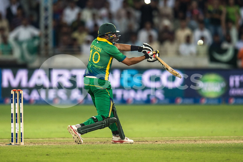 Shahid Afridi, Captain of Pakistan on his way to a quick 24 during the 2nd International T20 Series match between Pakistan and England at Dubai International Cricket Stadium, Dubai, UAE on 27 November 2015. Photo by Grant Winter.