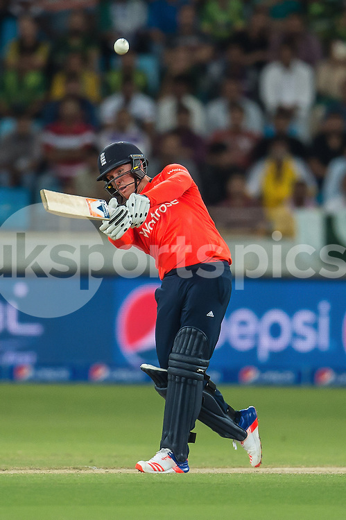 Jason Roy of England hits a six during the 2nd International T20 Series match between Pakistan and England at Dubai International Cricket Stadium, Dubai, UAE on 27 November 2015. Photo by Grant Winter.