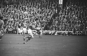 All Ireland Senior Football Championship Final, Kerry v Down, 22.09.1968, 09.22.1968, 22nd September 1968, Down 2-12 Kerry 1-13, Referee M Loftus (Mayo)...Down defence in action..Down centre half back Willie Doyle (no 6) full back D. McCartan (no 3) and goalie D Kelly stop Kerry right full T. Prendergast from scoring, the ball went wide,
