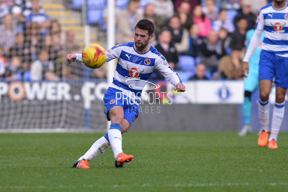 Reading's Oliver Norwood clears the danger during the Sky Bet Championship match between Reading and Brighton and Hove Albion at the Madejski Stadium, Reading, England on 31 October 2015. Photo by Mark Davies.