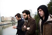 From left, Jon Bafus, Payam Bavafa, and Eric Ruud of Sholi walk by Lake Merritt in Oakland, CA December 21, 2008.