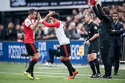 (L-R) Robin van Persie of Feyenoord, Bilal Basacikoglu of Feyenoord during the Dutch Eredivisie match between Feyenoord Rotterdam and FC Utrecht at the Kuip on April 15, 2018 in Rotterdam, The Netherlands