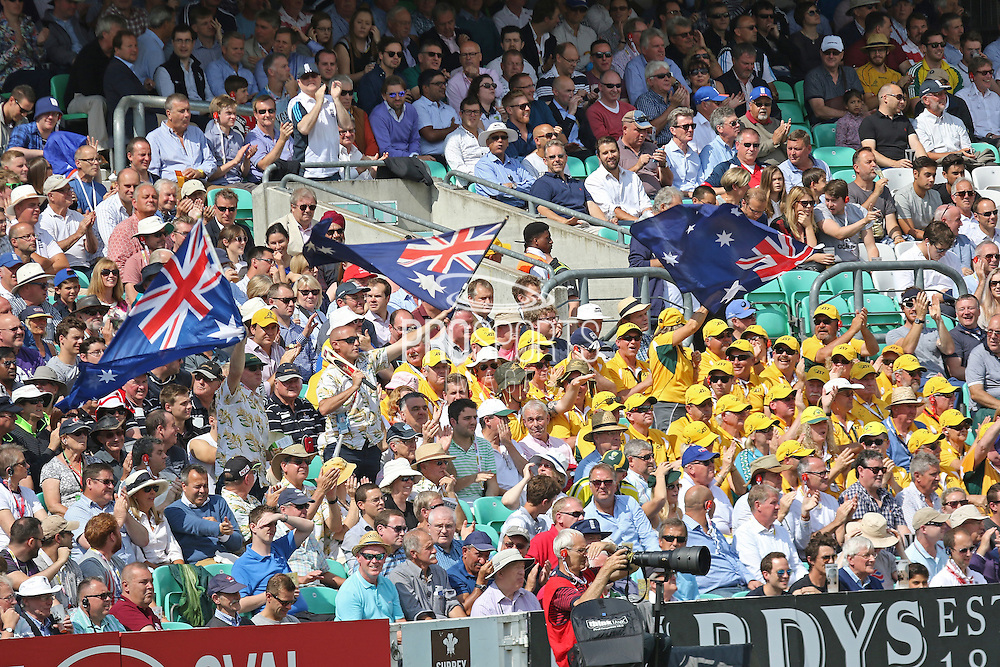 Australian fans celebrate 4 runs during the 1st day of the 5th Investec Ashes Test match between England and Australia at The Oval, London, United Kingdom on 20 August 2015. Photo by Phil Duncan.