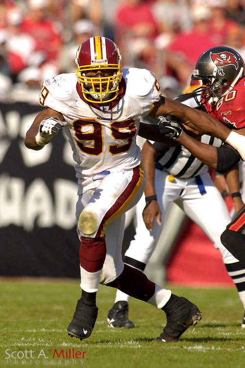 Nov. 19, 2006; Tampa, FL, USA;  Washington Redskins defender (99) Andre Carter in action during the Redskins game against the Tampa Bay Buccaneers at Raymond James Stadium. ...©2006 Scott A. Miller