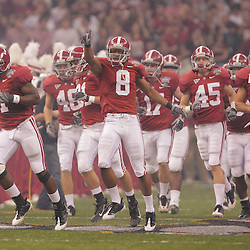 2 January 2009: Alabama cornerback Julio Jones (8) celebrates as he runs with his team onto the field prior to kickoff of the 75th annual All State Sugar Bowl  between the Utah Utes and the Alabama Crimson Tide at the Louisiana Superdome in New Orleans, LA.