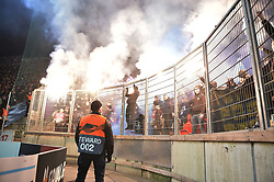 February 14, 2019 - Prague, CZECH REPUBLIC - Genk's supporters pictured during a soccer game between Czech club SK Slavia Praha and Belgian team KRC Genk, the first leg of the 1/16 finals (round of 32) in the Europa League competition, Thursday 14 February 2019 in Prague, Czech Republic. BELGA PHOTO YORICK JANSENS (Credit Image: © Yorick Jansens/Belga via ZUMA Press)