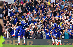 LONDON, ENGLAND - Sunday, May 3, 2015: Chelsea's Eden Hazard celebrates scoring the first goal against Crystal Palace during the Premier League match at Stamford Bridge. (Pic by David Rawcliffe/Propaganda)