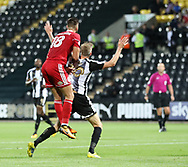 Jon Stead of Notts County is fouled by Tom Dallison of Accrington Stanley and a penalty is awarded during the Sky Bet League 2 match at Meadow Lane, Nottingham<br /> Picture by James Wilson/Focus Images Ltd 07522 978714‬‬<br /> 25/08/2017