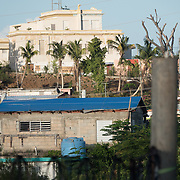 AUGUST 27, 2018--VIEQUES---PUERTO RICO--<br /> Blue tarp covers a house in Vieques almost one year after  the path of Hurricane Maria.<br /> (Photo by Angel Valentin/Freelance)