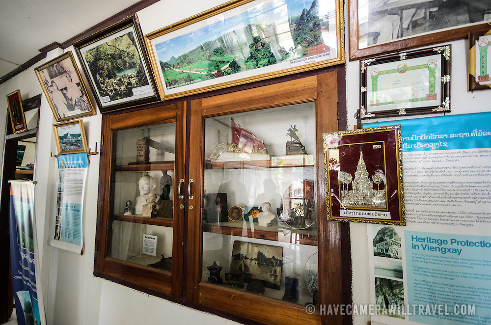 A small exhibit at the Welcome Center of the Pathet Lao caves of Vieng Xai. The Pathet Lao Caves of Vieng Xai in Houaphanh Province in northeastern Laos. It was in these natural caves deep in karsts that the Pathet Lao leadership avoided constant American bombing raids during the Vietnam War.