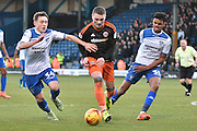 Bury Midfielder, Callum Styles (34) , Bury Defender, Jacob Bedeau (30) and Sheffield United Forward, Caolan Lavery (9)  during the EFL Sky Bet League 1 match between Bury and Sheffield Utd at the JD Stadium, Bury, England on 2 January 2017. Photo by Mark Pollitt.