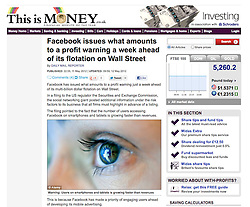 Tearsheet from This is Money; Facebook logo in eye