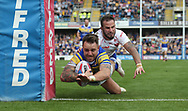Richie Myler of Leeds Rhinos dives over to score the try against Hull Kingston Rovers during the Super 8s the Qualifiers match at Emerald Headingley  Stadium, Leeds<br /> Picture by Stephen Gaunt/Focus Images Ltd +447904 833202<br /> 01/09/2018