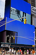 New York. times square. blue advertising bilboard  in Times square area. New york - United states  Manhattan / panneaux publicitaire bleu,  Times square   New york - Etats unis