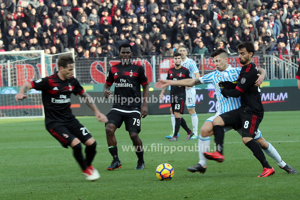 "Foto Filippo Rubin<br /> 10/02/2018 Ferrara (Italia)<br /> Sport Calcio<br /> Spal - Milan - Campionato di calcio Serie A 2017/2018 - Stadio ""Paolo Mazza""<br /> Nella foto: ALBERTO GRASSI (SPAL)<br /> <br /> Photo by Filippo Rubin<br /> February 10, 2018 Ferrara (Italy)<br /> Sport Soccer<br /> Spal vs Milan - Italian Football Championship League A 2017/2018 - ""Paolo Mazza"" Stadium <br /> In the pic: ALBERTO GRASSI (SPAL)"
