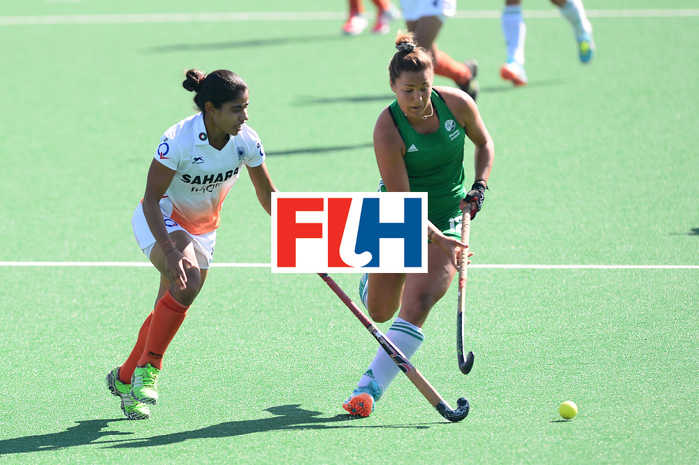 JOHANNESBURG, SOUTH AFRICA - JULY 22: Namita Toppo of India tackles Elena Tice of Ireland during day 8 of the FIH Hockey World League Women's Semi Finals 7th-8th place match between India and Ireland at Wits University on July 22, 2017 in Johannesburg, South Africa. (Photo by Getty Images/Getty Images)