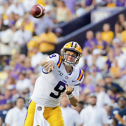 Aug 31, 2019; Baton Rouge, LA, USA; LSU Tigers quarterback Joe Burrow (9) throws against the Georgia Southern Eagles during the second quarter at Tiger Stadium. Mandatory Credit: Derick E. Hingle-USA TODAY Sports