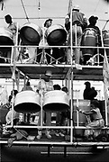 A steel drum band on a lorry carnival float, Notting Hill Carnival, London, 1989