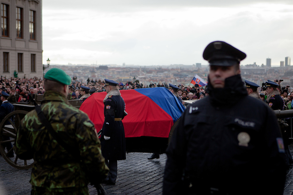 About 10000 Czech citizens accompanied the remains of Vaclav Havel from the Old Town part in Prague across Charles Bridge   up to Prague Castle, the seat of Czech presidents. Mourning procession for former President Vaclav Havel at Prague Castle.