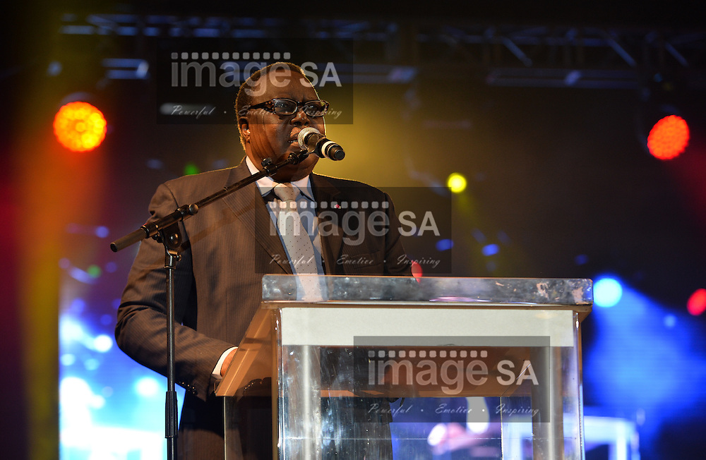DURBAN, SOUTH AFRICA - JUNE 21: Hamad Kalkaba Malboum, CAA president, addresses the audience during the CAA 20th African Senior Championships Opening Ceremony at Growth Point Kings Park stadium on June 21, 2016 in Durban, South Africa. (Photo by Roger Sedres/Gallo Images)