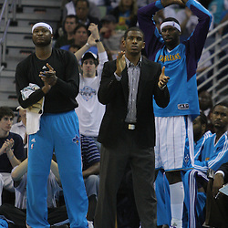 08 February 2009: New Orleans Hornets guard Chris Paul cheers on his team from the bench during a 101-97 win by the New Orleans Hornets over the Minnesota Timberwolves at the New Orleans Arena in New Orleans, LA.