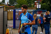 Wimbledon defender Will Nightingale (5) arrives ahead of the Pre-Season Friendly match between Hampton & Richmond and AFC Wimbledon at Beveree Stadium, Richmond Upon Thames, United Kingdom on 27 July 2019.