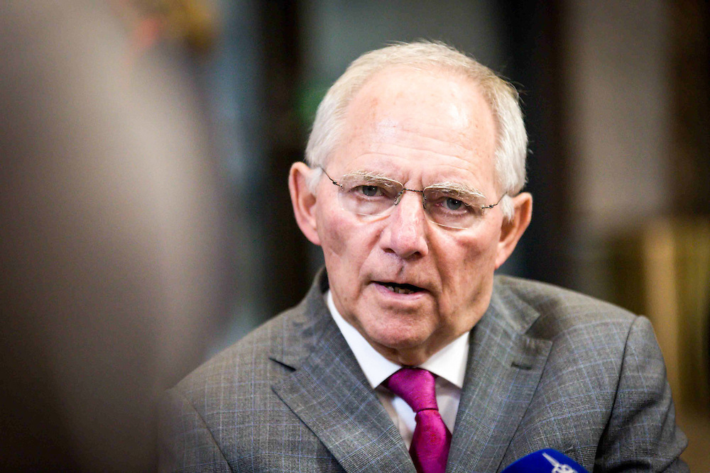 Arrivals for the Eurogroup meeting. The finance Minister of Germany, Mr Wolfgang Schäuble