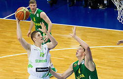 Gezim Morina of Slovenia vs Paulius Vaitiekunas of Lithuania during basketball match between National teams of Slovenia and Lithuania in First Round of U20 Men European Championship Slovenia 2012, on July 14, 2012 in Domzale, Slovenia.  (Photo by Vid Ponikvar / Sportida.com)