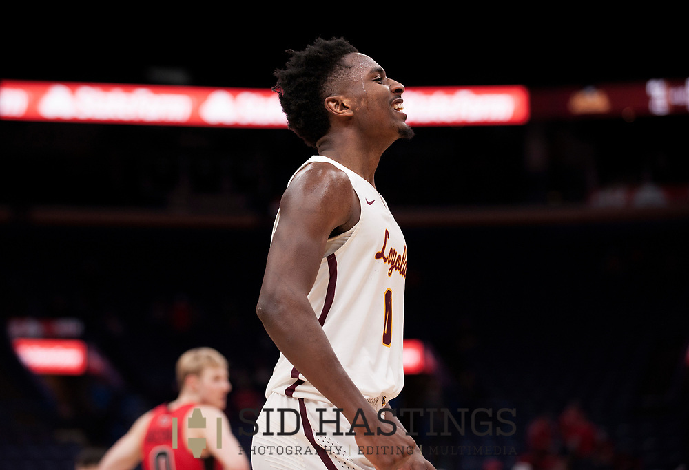 Loyola University Chicago player Donte Ingram (0) celebrates against Illinois State University during the championship game of the Missouri Valley Conference men's basketball tournament at Scottrade Center in St. Louis Sunday, March 4, 2018. Photo © copyright 2018 Sid Hastings.