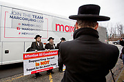 Members of Jews United against Zionism demonstrate outside a Marco Rubio event during the US Presidential Election Campaign in 2016.