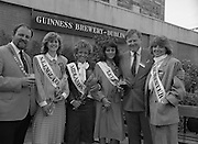 Roses of Tralee at Guinness Brewery..1986.20.08.1986..08.20.1986..20th August 1986..As part of the 50th running of the Rose Of Tralee Festival the thirty Rose contestants were invited to The Guinness Brewery,St James's Gate,Dublin. At the reception in their honour, Mr Pat Healy,Sales Director,Guinness Group Sales,welcomed the roses at the Guinness Reception Centre..Extra: Ms Noreen Cassidy,representing Leeds,went on to win the title of 'Rose Of Tralee'...England representatives are pictured with the Chairman,Organising Committee,Rose of Tralee Festival and Mr Brian Brown,Guinness Group Sales.