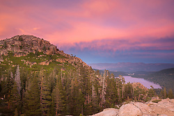 """Donner Lake Sunset 26"" - Photograph of Donner Lake and Truckee, California at sunset."