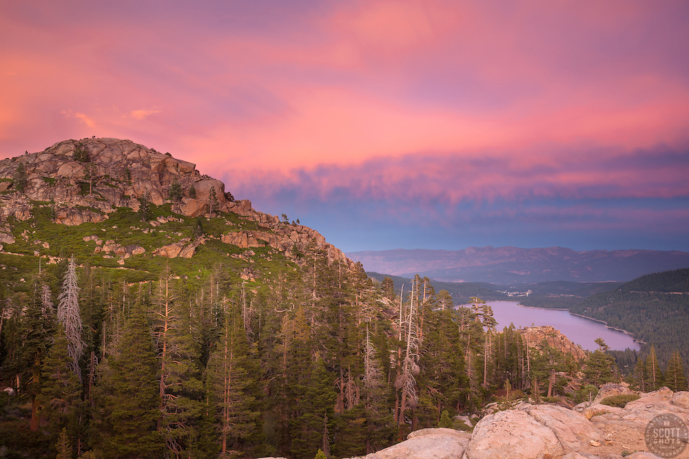 """""""Donner Lake Sunset 26"""" - Photograph of Donner Lake and Truckee, California at sunset."""