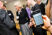 Her Royal Highness meets the team developing a website (www.centre-adolsecent-rheumatology.org) and phone app (pictured - a section allowing you to map your pain levels).The Duchess of Cornwall, Patron, Arthritis Research UK, visits and meets patients of the Adolescent Inpatient Unit at University College London Hospitals.  •	Her Royal Highness then tours a laboratory at the Arthritis Research UK Centre for Adolescent Rheumatology and meeting researchers and supporters. London 12 Feb 2015.
