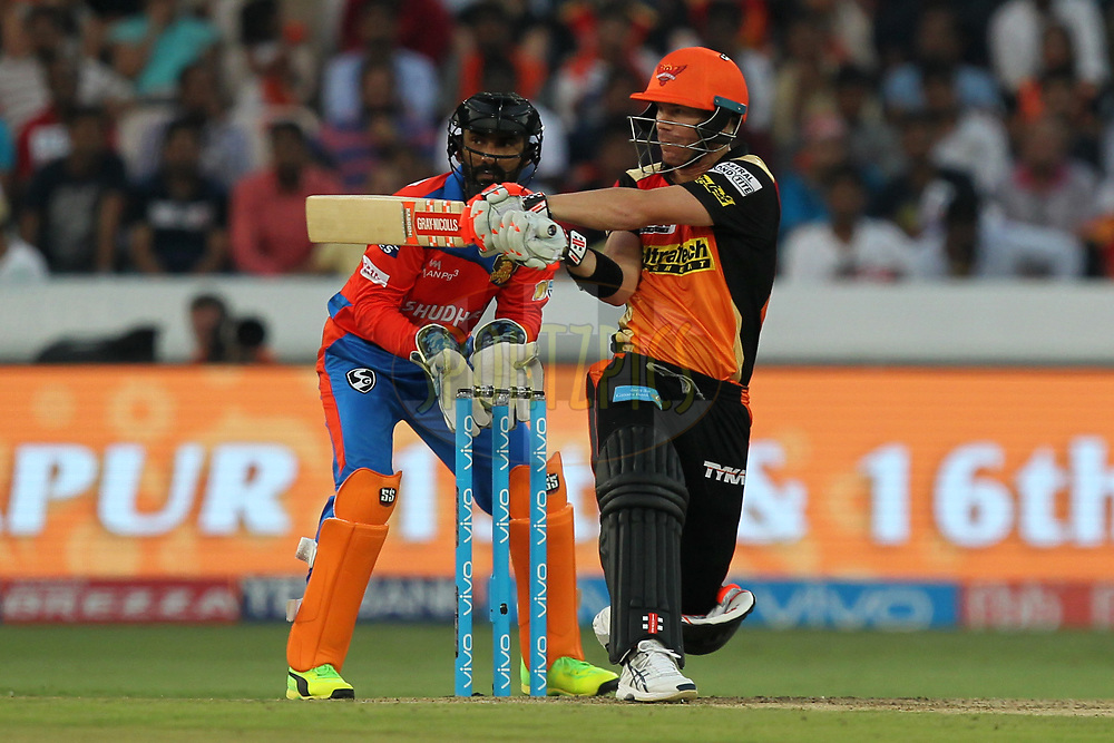 David Warner captain of Sunrisers Hyderabad during match 6 of the Vivo 2017 Indian Premier League between the Sunrisers Hyderabad and the Gujarat Lions held at the Rajiv Gandhi International Cricket Stadium in Hyderabad, India on the 9th April 2017Photo by Prashant Bhoot - IPL - Sportzpics