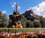 Edinburgh castle as seen from Princes Street gardens,City of Edinburgh