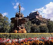 Edinburgh castle as seen from Princes Street gardens,City of Edinburgh