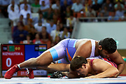 Ashgabat, Turkmenistan - 2017 September 25:<br /> Wrestling competition during 2017 Ashgabat 5th Asian Indoor &amp; Martial Arts Games at Main Indoor Arena (MIA) at Ashgabat Olympic Complex on September 25, 2017 in Ashgabat, Turkmenistan.<br /> <br /> Photo by &copy; Adam Nurkiewicz / Laurel Photo Services