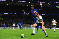 Football - 2019 / 2020 Premier League - Tottenham Hotspur vs. Chelsea<br /> <br /> Tottenham Hotspur's Jan Vertonghen holds off the challenge from Chelsea's Tammy Abraham, at The Tottenham Hotspur Stadium.<br /> <br /> COLORSPORT/ASHLEY WESTERN