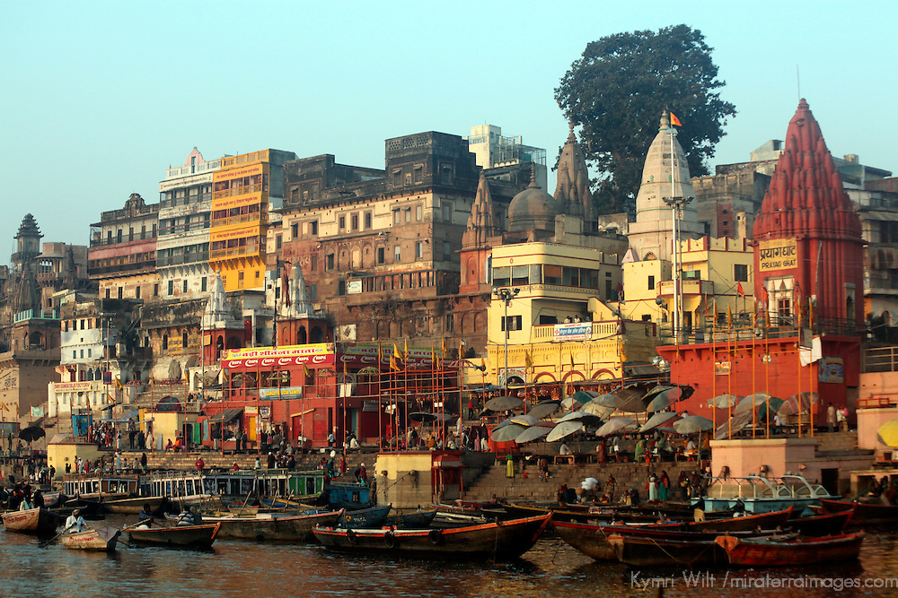 Asia, India, Varanasi.Boats on the Ganges River at Varanasi, a spiritual center for mysticism.