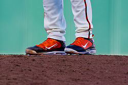 July 28, 2010; San Francisco, CA, USA;  San Francisco Giants relief pitcher Brian Wilson (38) was required to change his all orange colored shoes by Major League Baseball to include black.  Wilson is seen here during the ninth inning against the Florida Marlins at AT&T Park.  San Francisco defeated Florida 10-9 in 10 innings.